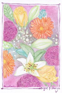 Bright & Cheery - Flowers drawn for a friend.